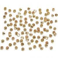 Quetschperlen, D: 2 mm, Vergoldet, 100 Stk/ 1 Pck