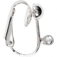 Clip-on-Ohrring, L: 16,5 mm, B: 1,5 mm, Lochgröße 1,6 mm, Versilbert, 6 Stk/ 1 Pck