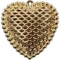 Herz, Größe 28x29 mm, Lochgröße 1 mm, Vergoldet, 1 Stk