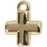 Kreuz, Größe 10x10 mm, Lochgröße 1,5 mm, Vergoldet, 4 Stk/ 1 Pck