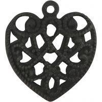 Herz, Größe 13x14 mm, Lochgröße 1 mm, Schwarz, 4 Stk/ 1 Pck