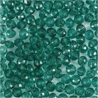 Glasschliffperlen, D: 4 mm, Lochgröße 1 mm, Grün, 45 Stk/ 1 Strg.