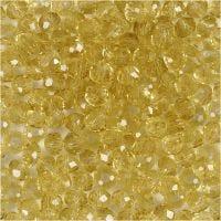 Glasschliffperlen, D: 4 mm, Lochgröße 1 mm, Gelb, 45 Stk/ 1 Strg.