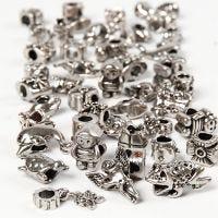 Verbindungsperle, D: 7-18 mm, Lochgröße 4 mm, Inhalt kann variieren , Antiksilber, 100 g/ 1 Pck