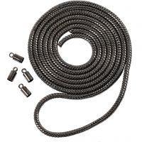 Schlangenglieder-Kette, D: 3,1 mm, Metallic-Hellgrau, 1 m