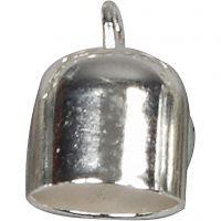 Endkappen, L: 11 mm, D: 8 mm, Versilbert, 6 Stk/ 1 Pck