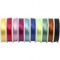 Elastischer Schmuckfaden, Dicke 1 mm, Sortierte Farben, 10x25 m/ 1 Pck