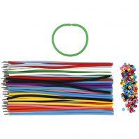Armbänder - Sortiment, L: 20 cm, Dicke 4 mm, Sortierte Farben, 48 Set/ 1 Pck