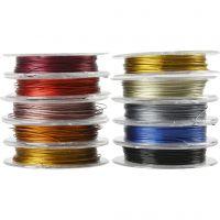 Schmuckdraht, Dicke 0,38 mm, Sortierte Farben, 10x10 m/ 1 Pck