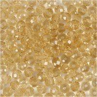 Glasschliffperlen, Größe 3x4 mm, Lochgröße 0,8 mm, Topaz, 100 Stk/ 1 Pck