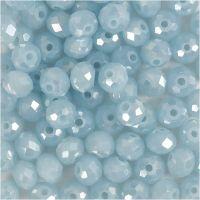 Glasschliffperlen, Größe 5x6 mm, Lochgröße 1 mm, Meerblau, 100 Stk/ 1 Pck