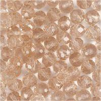Glasschliffperlen, Größe 5x6 mm, Lochgröße 1 mm, Rosa, 100 Stk/ 1 Pck