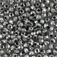 Glasschliffperlen, Größe 3x4 mm, Lochgröße 0,8 mm, Grau metallic, 100 Stk/ 1 Pck