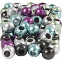 Pony-Perlen, D: 10 mm, Lochgröße 4 mm, Metallic-Farben, 125 ml/ 1 Pck, 60 g