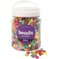 Kunststoffperlen-Mix Figuren, D: 10 mm, Lochgröße 3,5 mm, Sortierte Farben, 700 ml/ 1 Dose, 400 g