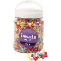 Fass-Perlen, Mix, D: 7 mm, Lochgröße 3,5 mm, Sortierte Farben, 700 ml/ 1 Dose, 265 g