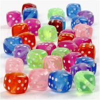 Würfel-Perlen, Mix, Größe 7x7 mm, Lochgröße 1,5 mm, 125 ml/ 1 Pck, 105 g