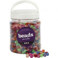 Würfel-Perlen, Mix, Größe 7x7 mm, Lochgröße 1,5 mm, Sortierte Farben, 700 ml/ 1 Dose, 510 g