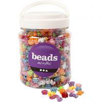 Kunststoffperlen-Mix Figuren, D: 10 mm, Lochgröße 3 mm, Sortierte Farben, 700 ml/ 1 Dose, 380 g