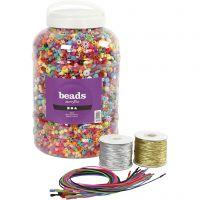 Großbehälter mit Kunststoffperlen, elastischem Band und Armbändern, Größe 6-20 mm, Lochgröße 1,5-6 mm, Sortierte Farben, 1 Set
