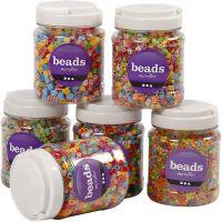 Perlen-Mix, Größe 7-10 mm, Lochgröße 2-4 mm, Sortierte Farben, 6x700 ml/ 1 Pck