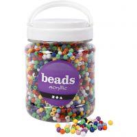 Pony-Perlen, D: 6 mm, Lochgröße 3 mm, Sortierte Farben, 700 ml/ 1 Dose, 425 g