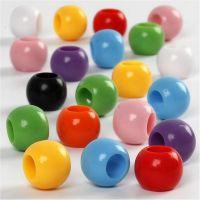Pony-Perlen, D: 10 mm, Lochgröße 4,5 mm, 110 ml/ 1 Pck, 65 g