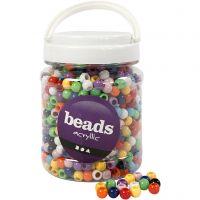 Pony-Perlen, D: 10 mm, Lochgröße 4,5 mm, Sortierte Farben, 700 ml/ 1 Dose, 430 g