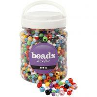 Pony-Perlen, D: 6-10 mm, Lochgröße 3-5 mm, Sortierte Farben, 700 ml/ 1 Dose, 430 g