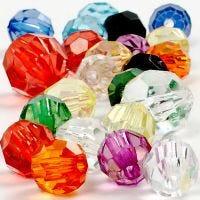 Facettenperlen-Mix, Größe 10-12-16 mm, Lochgröße 1-2,5 mm, 125 ml/ 1 Pck, 75 g