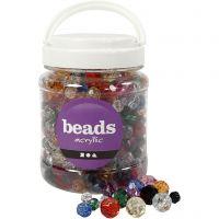 Facettenperlen-Mix, Größe 10-12-16 mm, Lochgröße 1-2,5 mm, Sortierte Farben, 700 ml/ 1 Dose, 500 g