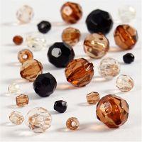 Facettenperlen-Mix, Größe 4-12 mm, Lochgröße 1-2,5 mm, Golden, 50 g/ 1 Pck