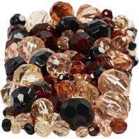 Facettenperlen-Mix, Größe 4-12 mm, Lochgröße 1-2,5 mm, Golden, 250 g/ 1 Pck