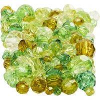 Facettenperlen-Mix, Größe 4-12 mm, Lochgröße 1-2,5 mm, Grün mit Glitter, 250 g/ 1 Pck