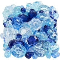Facettenperlen-Mix, Größe 4-12 mm, Lochgröße 1-2,5 mm, Harmonie in Blau, 250 g/ 1 Pck