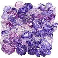 Facettenperlen-Mix, Größe 4-12 mm, Lochgröße 1-2,5 mm, Flieder, 250 g/ 1 Pck