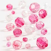 Facettenperlen-Mix, Größe 4-12 mm, Lochgröße 1-2,5 mm, Pink, 45 g/ 1 Pck