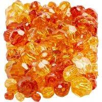 Facettenperlen-Mix, Größe 4-12 mm, Lochgröße 1-2,5 mm, Gelb (32227), 250 g/ 1 Pck