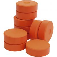 Tempera Farbblöcke, H: 19 mm, D: 57 mm, Orange, 10 Stk/ 1 Pck