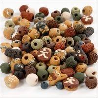 Keramikperlen, Größe 7-18 mm, Lochgröße 2-4 mm, Sortierte Farben, 300 g/ 1 Pck