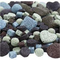 Lavaperlen-Mix, Größe 6-37 mm, Lochgröße 1+2 mm, Inhalt kann variieren , Sortierte Farben, 20 Strg./ 1 Pck