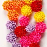 Blumenperlen, Größe 15x8 mm, Lochgröße 1,5 mm, Sortierte Farben, 5x4 Stk/ 1 Pck