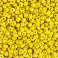 Rocaille Seed Beads, D: 3 mm, Größe 8/0 , Lochgröße 0,6-1,0 mm, Gelb, 25 g/ 1 Pck