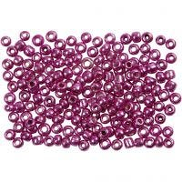 Rocaille Seed Beads, D: 3 mm, Größe 8/0 , Lochgröße 0,6-1,0 mm, Lila metallic, 500 g/ 1 Pck