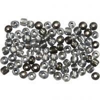 Rocaille Seed Beads, D: 4 mm, Größe 6/0 , Lochgröße 0,9-1,2 mm, Grau transparent, 500 g/ 1 Pck
