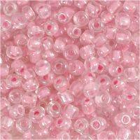 Rocaille Seed Beads, D: 4 mm, Größe 6/0 , Lochgröße 0,9-1,2 mm, Rosa, 25 g/ 1 Pck