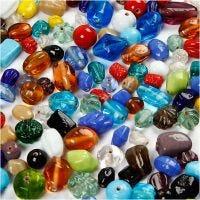 Glasperlen-Mix, Größe 7-18 mm, Lochgröße 1 mm, Sortierte Farben, 1000 g/ 1 Pck