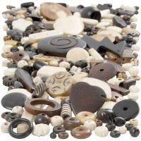Knochenperlen-Mix, Größe 5-30 mm, Lochgröße 1-2 mm, 300 g/ 1 Pck