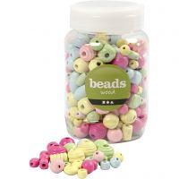 Perlen aus Holz, D: 10-15 mm, Lochgröße 3-5 mm, Hellblau, Hellgrün, Rosa, Hellgelb, 400 ml/ 1 Eimer