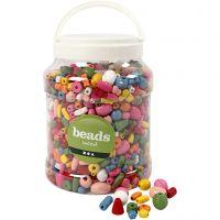 Perlen aus Holz, Größe 5-28 mm, Lochgröße 2,5-3 mm, Sortierte Farben, 2 l/ 1 Eimer, 850 g